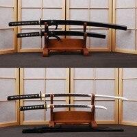 Handmade 1060 คาร์บอนเหล็กญี่ปุ่นดาบชุด Vintage Katana & Samurai Wakizashi Full Tang Wave ความท้าทาย Sharp Edge ตัดไม้ไผ่