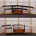 Juego de espadas japonesas de acero al carbono 1060 hecho a mano Vintage Katana y Samurái Wakizashi ola Tang Hamon borde afilado puede cortar de bambú