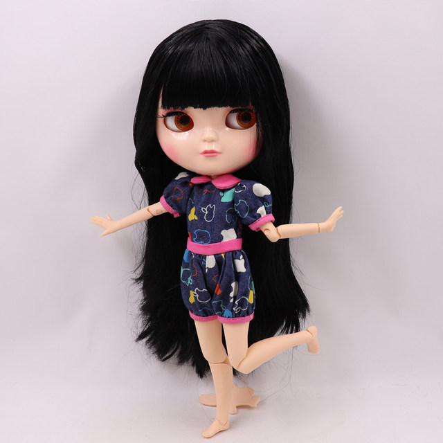 Fortune Days ICY nude Doll Joint Body small chest balck straight hair No.9601 free shipping