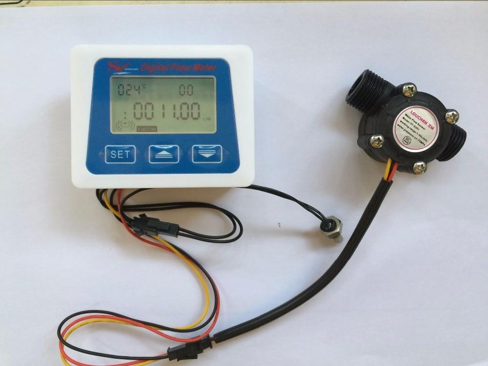 Digital Display Meters : Lcd display digital flow meter temperature measuring
