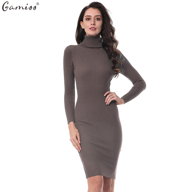 Gamiss Women Autumn Knitted Dresses Slim Elastic Turtleneck Long Sleeve Sweater Sexy Lady Bodycon Robe Dresses Vestidos