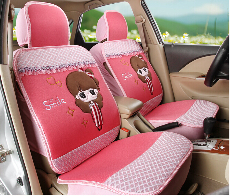 free shipping women 39 s cute 11pcs set car covers cartoon car seat cover set universal car. Black Bedroom Furniture Sets. Home Design Ideas