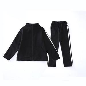 Image 5 - Teenager Boys Clothing Sport Suit Kids Girls Clothing Set Zipper Jacket+Long Pant 2PCS Striped Children Tracksuit Set for 4 16Y