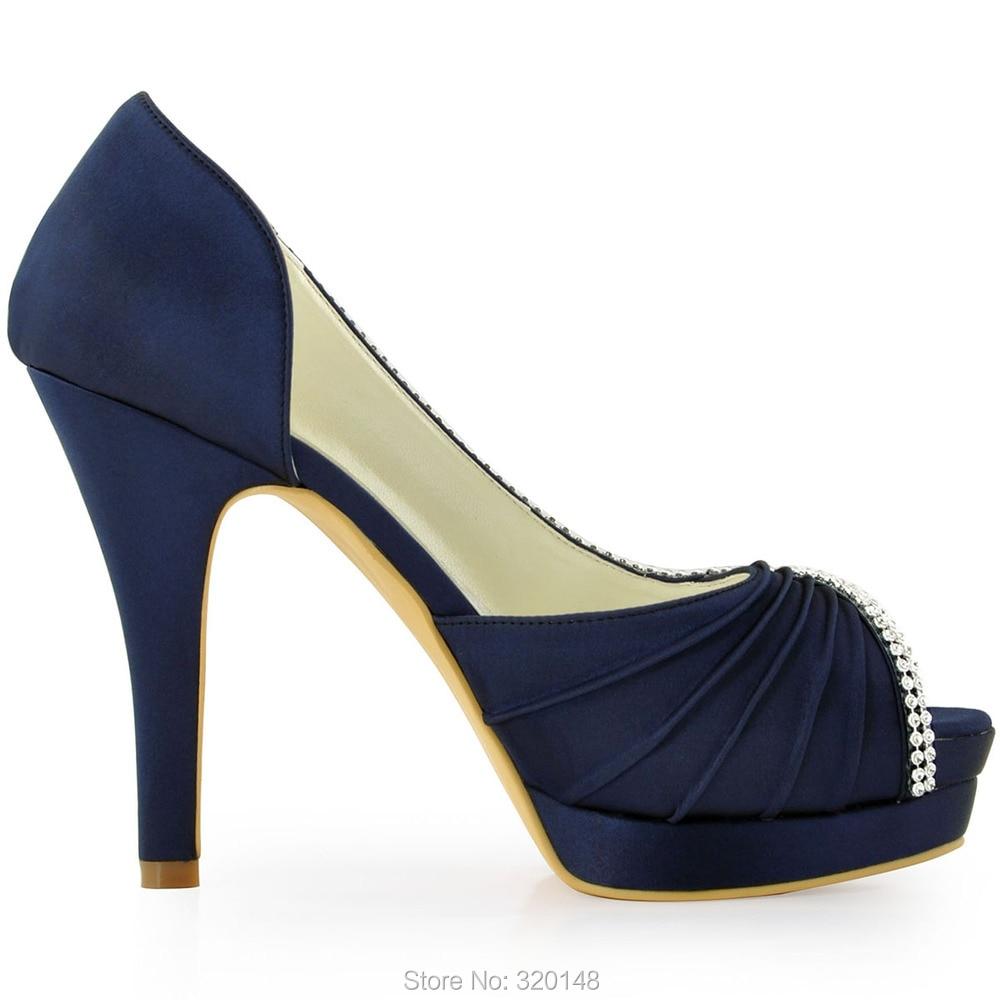 Frauen hochzeit Schuhe Marineblau Peep Toe High Heel Plattform ...