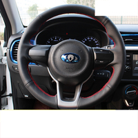 lsrtw2017 real leather cowl leather car steering wheel cover for kia rio 2017 2018 2019 2020 k2