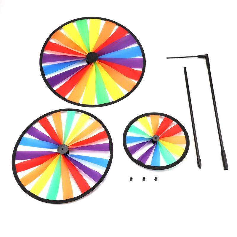Multicolor Rainbow Triple Wheel Windmill Pinwheel Wind Whirligig Kids Toy Garden Party Outdoor Decor cute Kids Toys for children