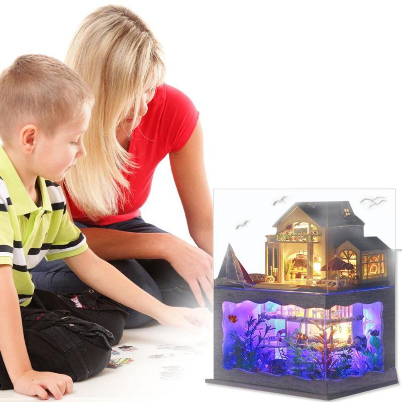Image 4 - Villa Doll House Furniture LED Light DIY Wooden Mini Dollhouse Assemble Toy Doll Props Creative DIY Wooden House Toys Doll HouseDoll Houses   -