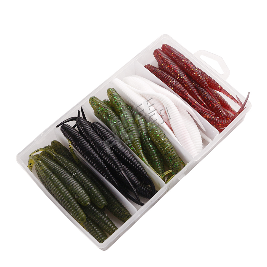 50pcs/lot Fishing Soft Bait Kit Worm Rubber Grub Bass Sea River Fishing Lures Artificial Pesca 9.5CM/3.74IN Fishing Tackle 50pcs new wifreo soft lure loader locker connector fishing worm hook bait accessories for bass fishing wholesale