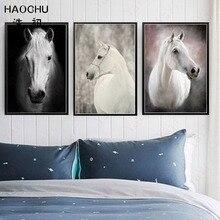HAOCHU Nordic Leinwand Malerei Liebe Kunst Poster Schwarz Weiss Wand Bild Home Decor Kostenlos Pferd Geschenk Wohnzimmer Bi