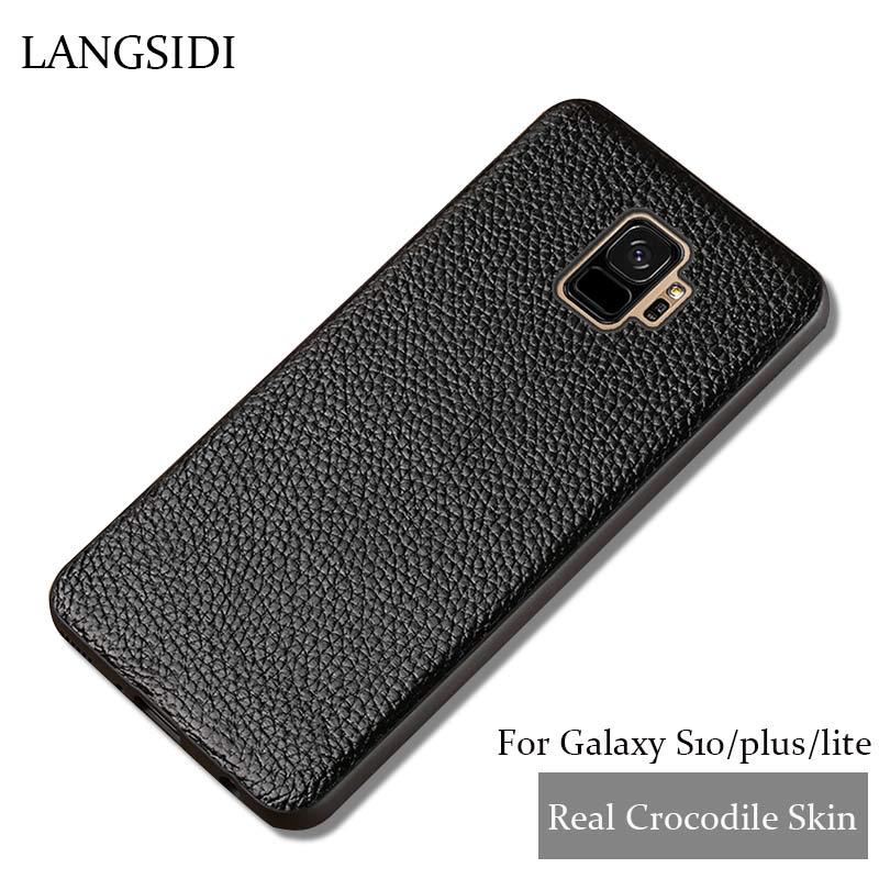 Véritable Cuir Téléphone étui pour samsung Galaxy S8 S9 s10 Plus Cas Litchi Texture revêtement arrière Pour S7 Bord A5 A7 J3 J5 j7 2017 Cas