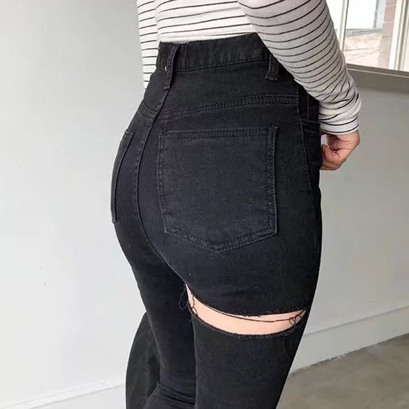 Spring Summer Back Hole Ripped Jeans For Women Shinny Push Up Jeans With High Waist Daily Casual Stretch Denim Jeans Trousers