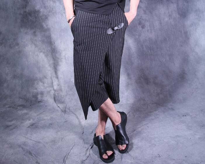 Personality fashion Dimensional cut harem pants mens stripe trousers pantalones hombre cargo feet pants for men pantalon homme