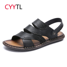 CYYTL New Men Summer Outdoor Sandals Soft Shoes Beach Slippers Comfortable Casual Sneakers Leather Flip Flops Sandalias Hombre