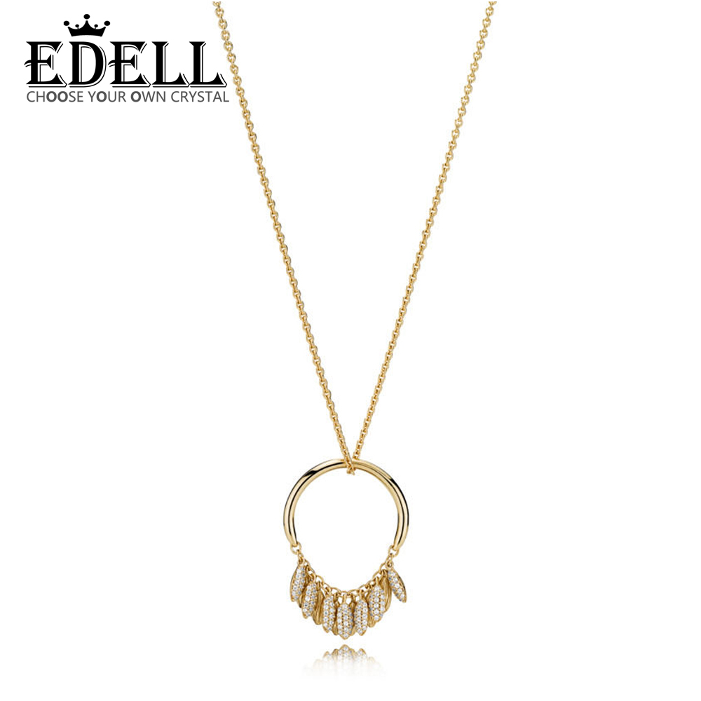 EDELL 100% 925 Sterling Silver New 1:1 Original 367683CZ SHINE CIRCLE OF SEEDS NECKLACE Women's Charming Gift Jewelry