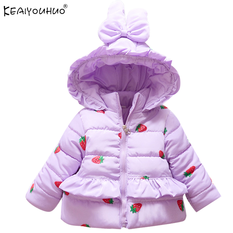 KEAIYOUHUO Winter Rabbit Hat Girls Outerwear Clothes Long Sleeve Girl Jackets Cotton Children Clothing Kids Down