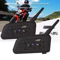 Free Shipping 2pcs Set 1200M V6 Bluetooth Motorbike Helmet Interphone Intercom Headset 6 Riders Motorcycle Bluetooth