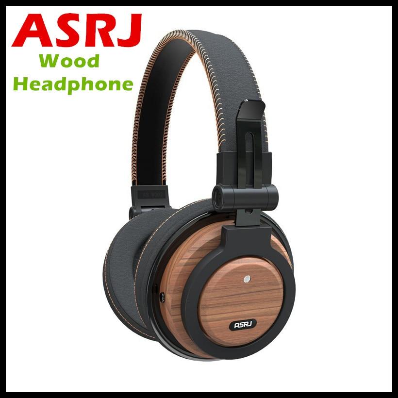 Casque ASRJ WT-01 Câble Détachable Eco Amical Au Fil Oreille Pliable Sans Fil Véritable Bois Micro Casque Bluetooth V4.1 Casque