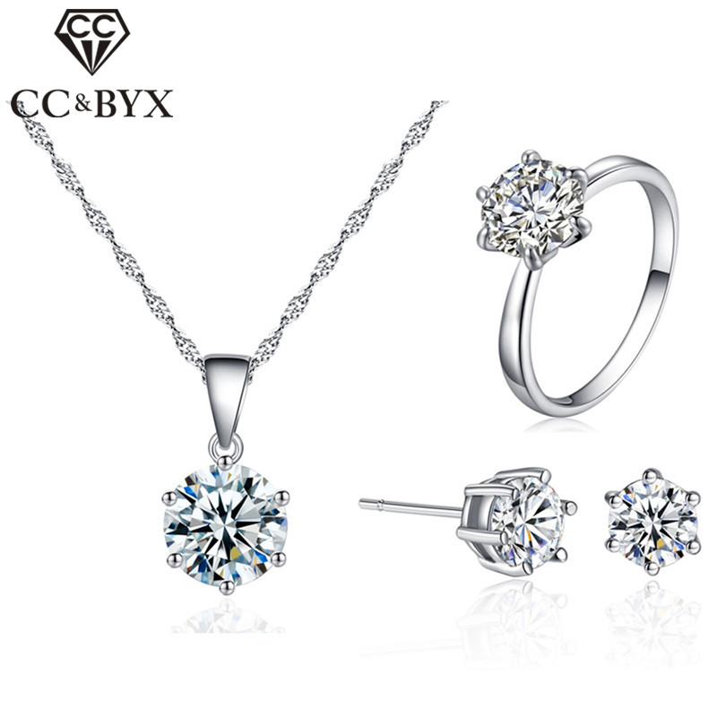 CC Classic Jewelry Sets For Women Simple Cubic Zirconia Round Stone Lovers 3PCS Set Bridal Wedding Engagement Jewelry CCAS201