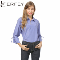 LERFEY Women Cotton Blouse Shirt Casual Loose Flare Sleeve White Shirts Plus Size Office Ladies Summer