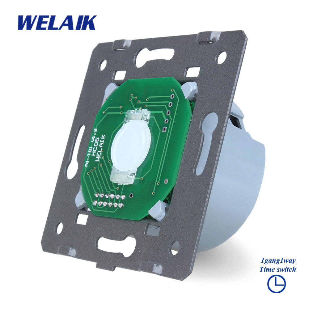 WELAIK  Panel Switch White Wall Switch EU Time Touch DIY Parts Switch Screen Light Switch 1gang1way AC110~250V A911DS welaik glass panel switch white wall switch eu remote control touch switch screen light switch 1gang2way ac110 250v a1914w br01