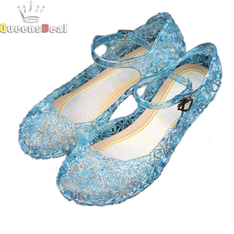 57fccfbf906ad Children Girl Sandals Anna Elsa Jelly princess Dress up Cosplay baby shoes  Girls Jelly Shoes for