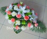 Novo Partido Tecido Do Vintage Grande 80 cm Mesa Decoração Do Carro Do Casamento Da Flor Artificial Rose Bouquet de Lírio Rosa Branca F1417
