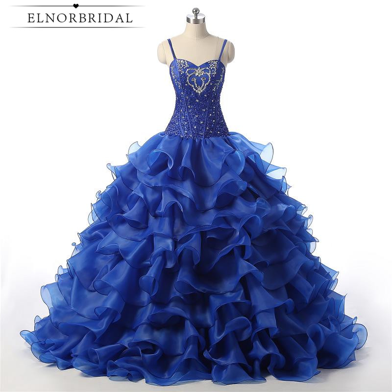 Royal Blue Ball Gown   Prom     Dresses   2018 Robe De Soiree Spaghetti Straps Formal Evening Pageant   Dress   Long Party Gowns