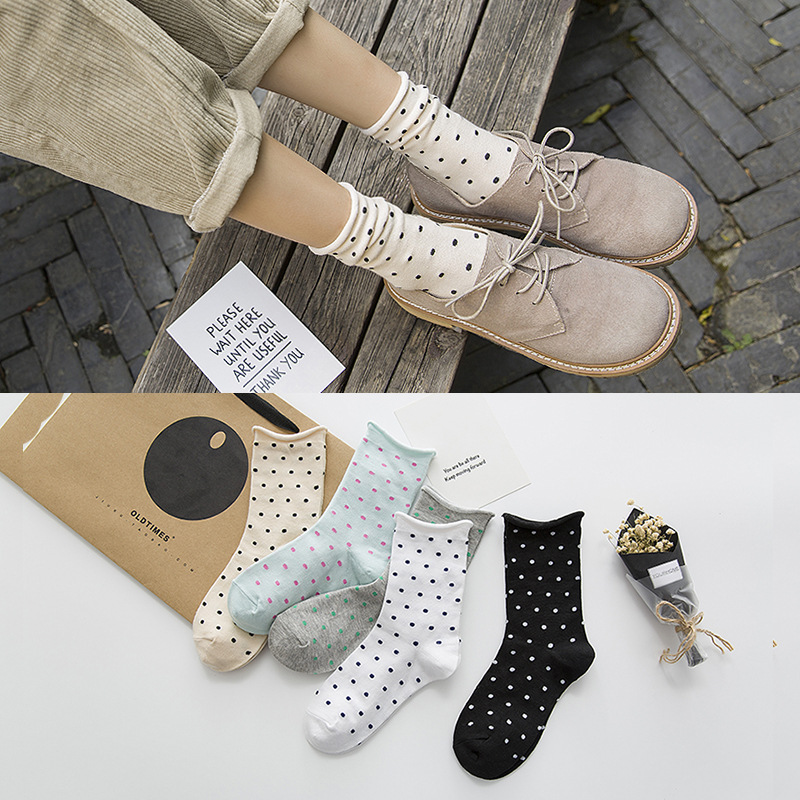 Happy Women   Socks   2019 New Arrivals Japanese High Quality Combed Cotton Lovely Dot female loose   socks   Kawaii Socken 5 Colors