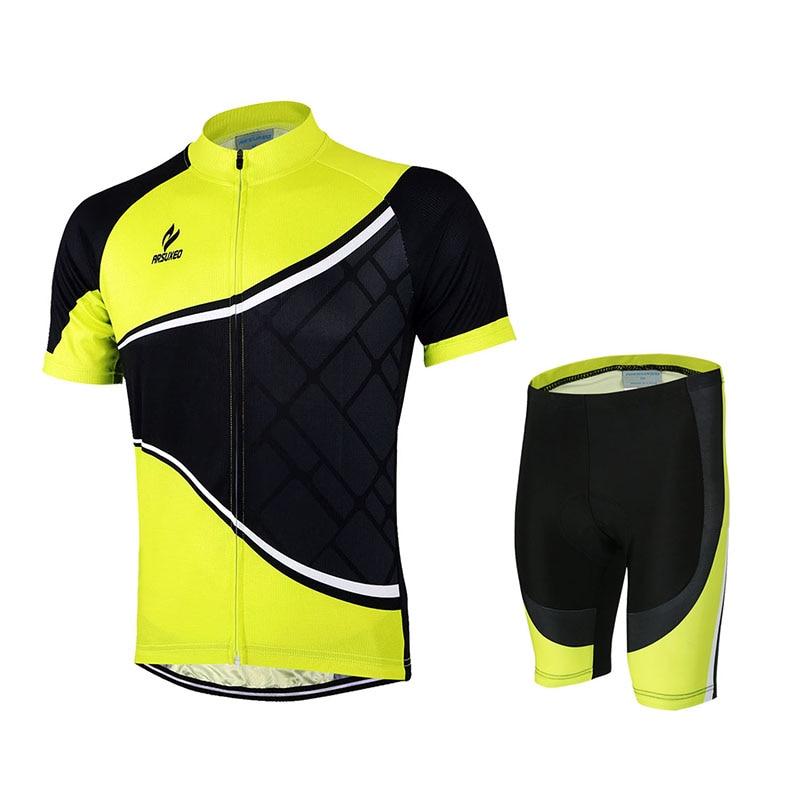 ARSUXEO Mens Cycling Short Sleeves maillot ciclismo motocross MTB Jersey Bike Bicycle Sets Shirts Padded Cycling Clothing Sets