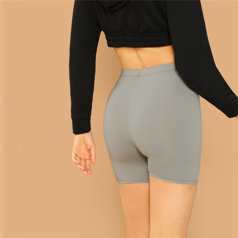 b25787f9c81d SHEIN Solido Ciclismo Leggings A Vita Alta Delle Donne 2019 Athleisure Crop  Fitness Ghette di Estate Delle Signore Casual Workout Leggings ~ Super Sale  July ...