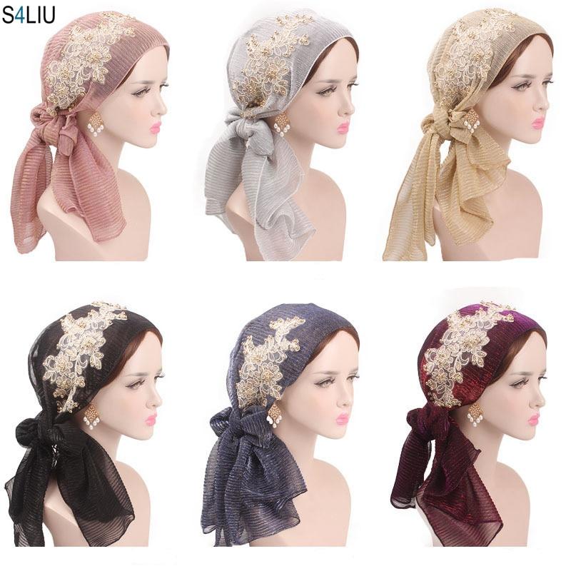 Women Muslim Stretch Turban Lace Flower Long Tail Hijab Scarf Cap Elegant Bandanas Embroidery Bead Cancer Chemo Head Wrap Scarf