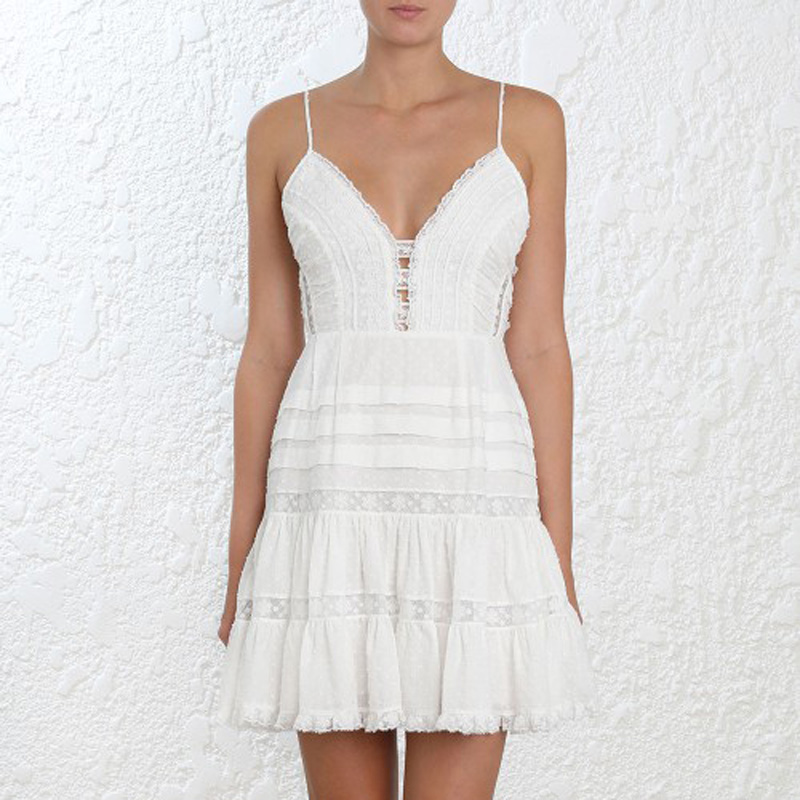 High Quality 2018 Summer Sexy V Neck Vocation And Holiday Beach White Women Mini Dress by Naughtykisses