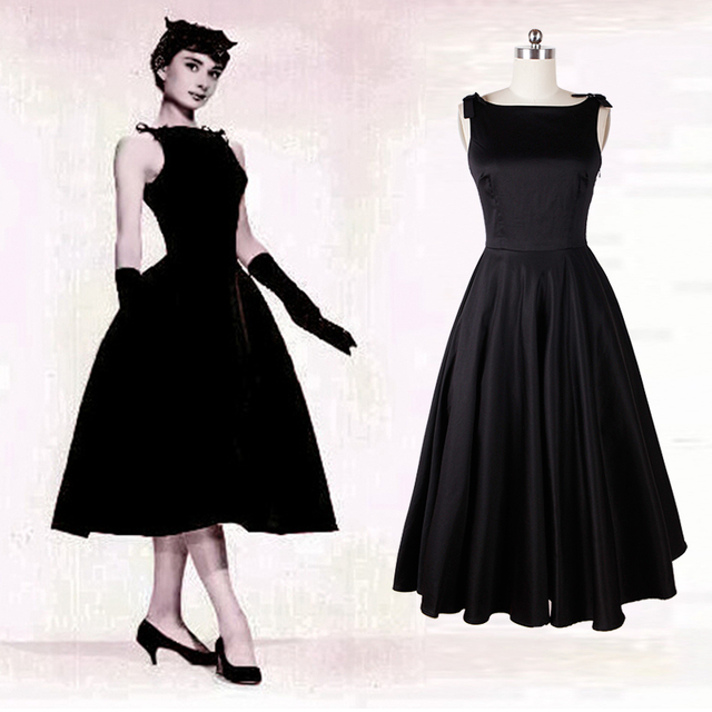 Classy Kleine Schwarze Kleid Elegante Audrey Hepburn V zurück Kleid ...