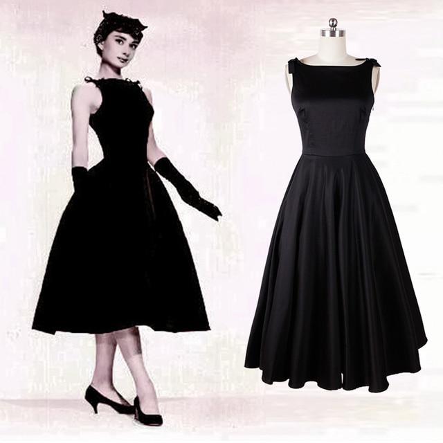 V Abito Dress Little Elegante Hepburn Audrey Indietro Black Classy m8vwO0yNn
