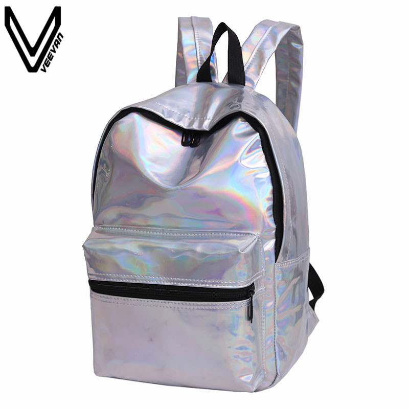 VEEVANV 2017 Summer Women Silver Hologram Laser Backpack New Casual School Shoulder Bags PU Leisure Travel