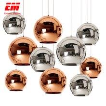 Bola lustre moderno e27 lâmpada cobre/tira/banhado a ouro sombra de vidro pingente para sala de jantar cozinha loft decoração zdd0005