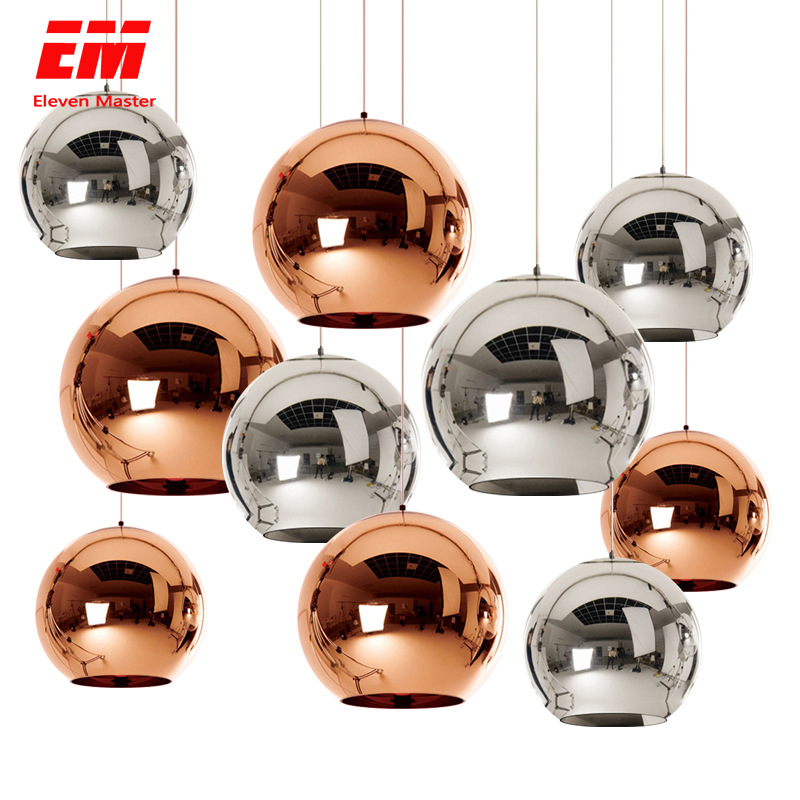 Modern Chandelier Ball E27 Bulb Copper/sliver/gold Plated Glass Shade Pendant Lamp For Dining Room Kitchen Loft Decor ZDD0005