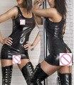 Ropa Interior atractiva de Las Mujeres Negro de Cuero Back Hollow Out Vestido Del Club de Baile de tubo Ropa M-2XL Sin Medias