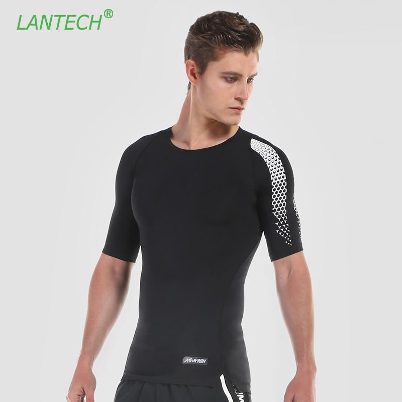 LANTECH Men Gym Running Shirt Jogging Sports Sportswear Fitness Compression Tights Shirt Elastic Clothes Short Sleeve Jerseys