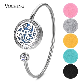 10pcs/lot 25mm Essential Oil Locket Bangle Fit 18mm Felt Pads 316L Stainless Steel Magnetic with Crystal with Oil Pads VA-584*10