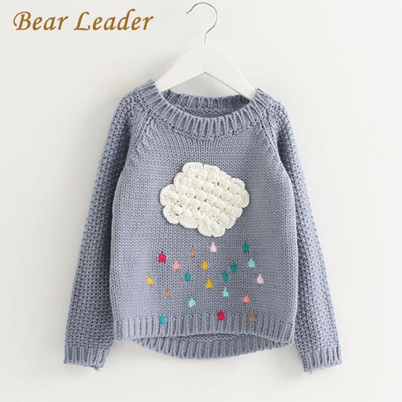Bear Leader Girls Clothing 2018 Winter Pullover Children Sweaters Cartoon Cloud Long Sleeve Outerwear O-neck Kids Knitwear 3-7Y stylish scoop neck long sleeve flag pattern knitwear for women