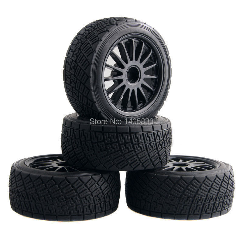 4pcs 80mm Tarmac Wheels & Tires For RC HPI WR8 Rally Off Road Buggy / Truck / HSP 1:10 94177 Black / White / Yellow 1 8 buggy on road tires 17mm for kyosho hobao hsp hpi 4pcs tires
