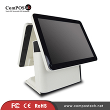 Good POS Machine Dual 15 Inch Touch Screen Capacitive Screen POS System With Built-in Card Reader For Restaurant