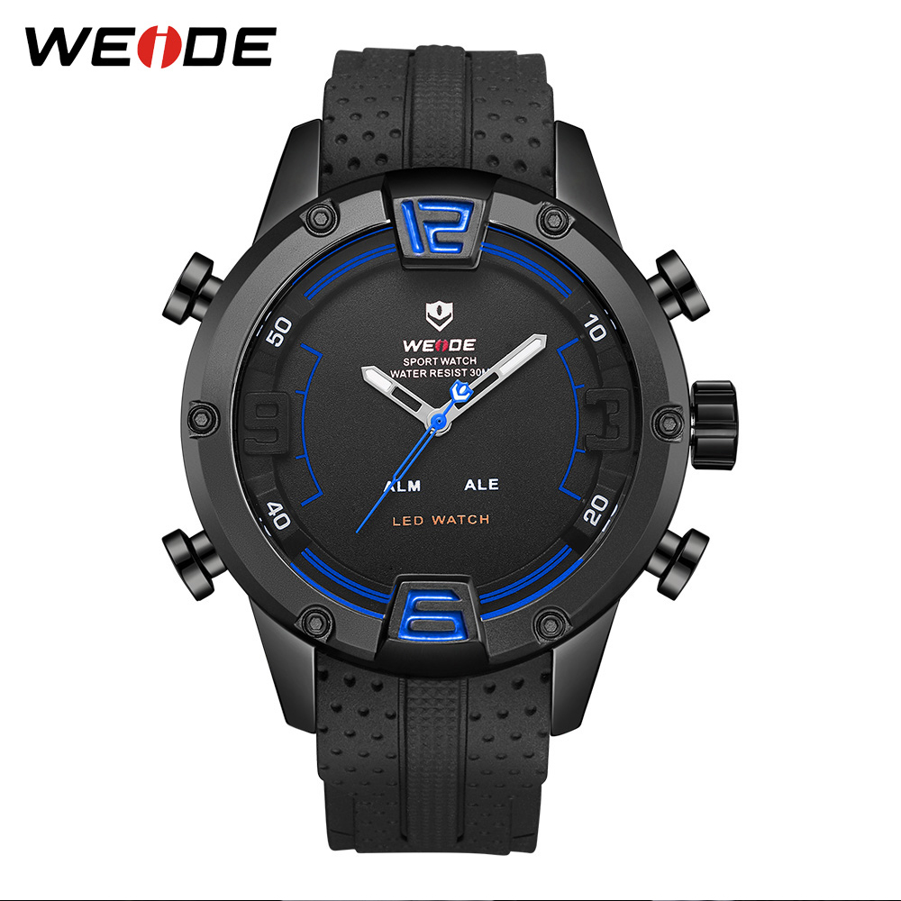 WEIDE Men Sports Watch Quartz Analog LED Clock Military Men's Digital Black Strap Bracelet Wrist Watch Relogio Masculino