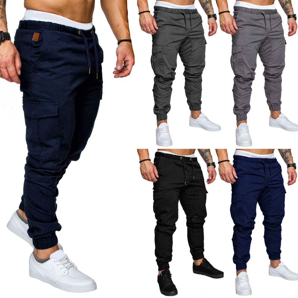 Men Cargo Sports Casual Tracksuit Fabala Sweatpants Straight Leg Jogger Long Pants Pencil Slim Fit Trousers Pants Sportwear