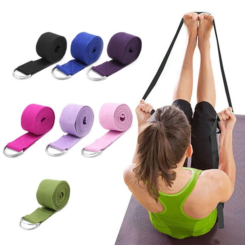 Multi-Color Adjustable Sport Stretch Strap Women Yoga D-Ring Belt Fitness Exercise Gym Rope Waist Leg Bands Cotton