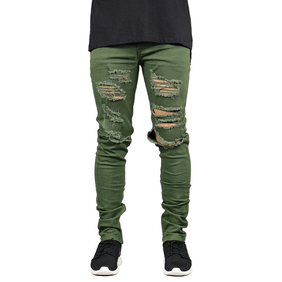 Men Jeans Fashion Stretch Slim Fit Ripped Jeans Army Green Hole Jeans For Men H5093