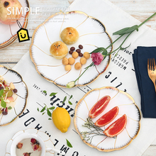Gold inlay food dishes plates for dinnerware luxury bone