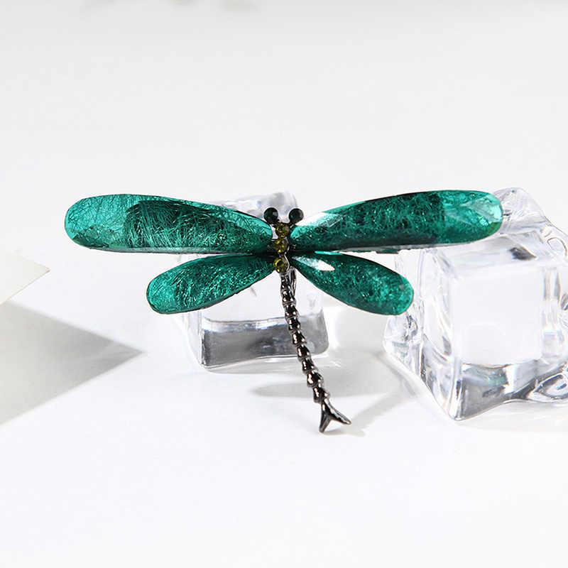Crystal Vintage Dragonfly Bros untuk Wanita Serangga Besar Bros Pin Fashion Gaun Mantel Aksesoris Lucu Perhiasan
