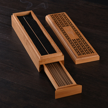 Incense Burners Holder Hollow Bamboo Box Double-layer Portable Recliner Stick Storage with drawer Yoga Home Decor